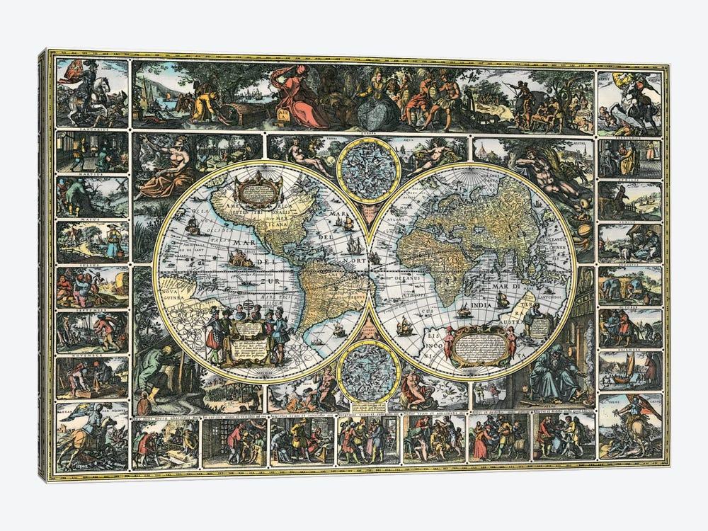Antique World Map II by Interlitho Designs 1-piece Canvas Print