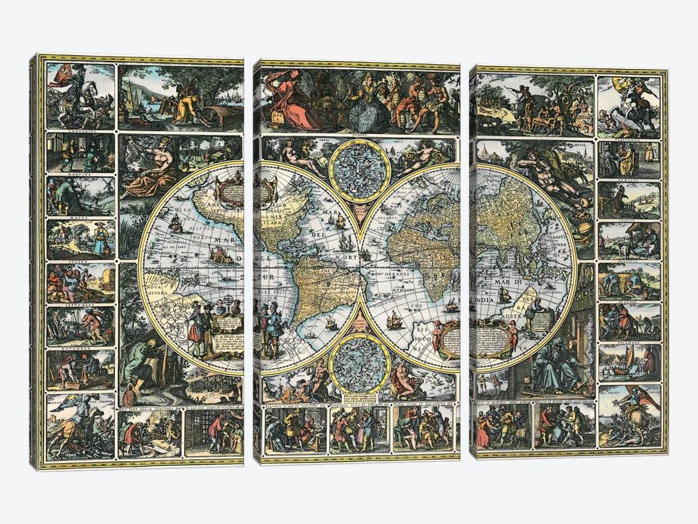 Antique World Map II by Interlitho Designs 3-piece Canvas Print