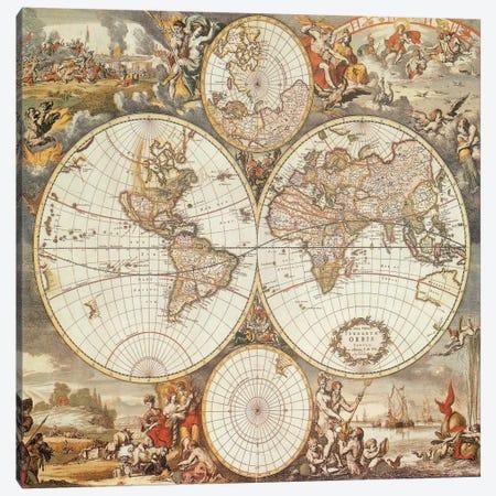 Antique World Map III Canvas Print #9215} by Interlitho Designs Canvas Art Print
