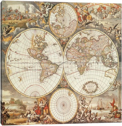 Antique World Map III Canvas Art Print