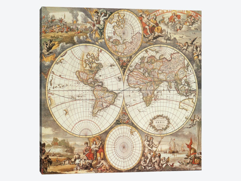 Antique World Map III by Interlitho Designs 1-piece Canvas Artwork