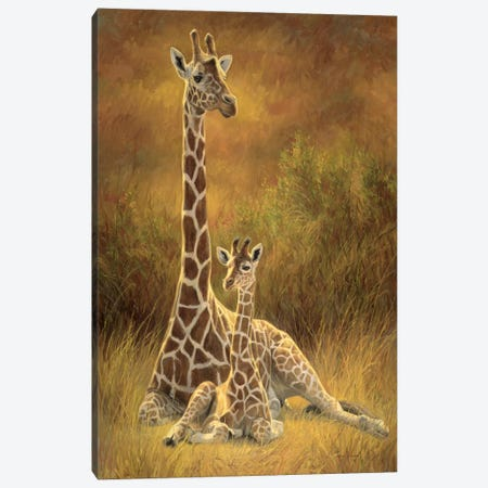 Mother & Son (Giraffe) Canvas Print #9217} by Lucie Bilodeau Canvas Art Print