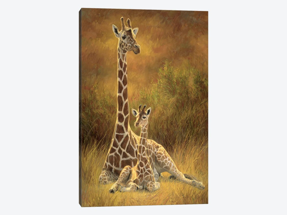 Mother & Son (Giraffe) by Lucie Bilodeau 1-piece Canvas Wall Art