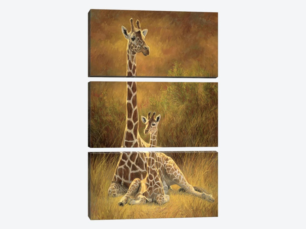 Mother & Son (Giraffe) by Lucie Bilodeau 3-piece Canvas Artwork