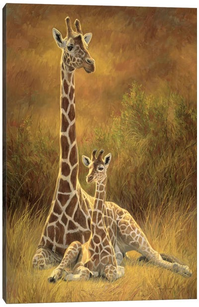 Mother & Son (Giraffe) Canvas Art Print