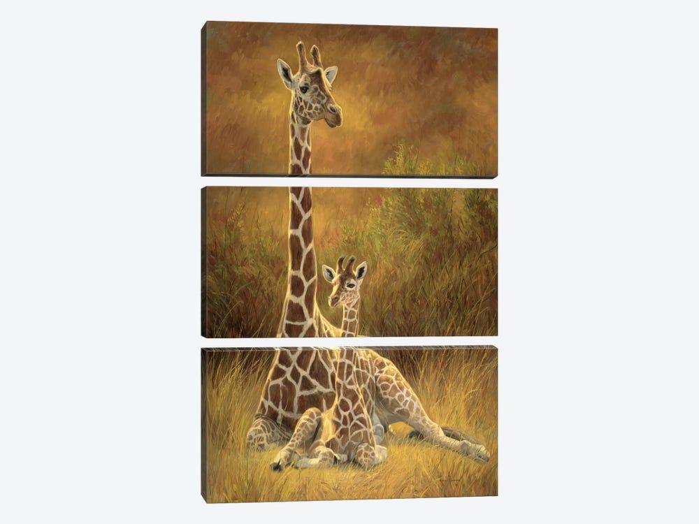Mother & Son (Giraffe) by Lucie Bilodeau 3-piece Canvas Artwork