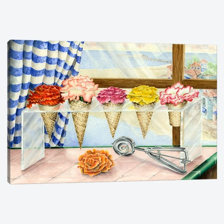 Begonias a la Mode (Ice Cream Flower) 3-Piece Canvas #9232} by Charlsie Kelly Canvas Wall Art