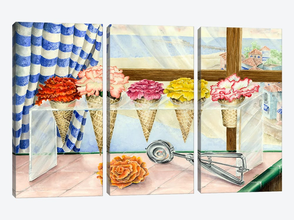 Begonias a la Mode (Ice Cream Flower) by Charlsie Kelly 3-piece Art Print