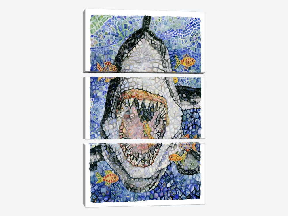 Great White (Shark) by Charlsie Kelly 3-piece Canvas Print