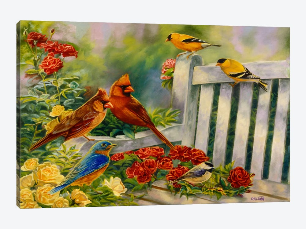 Where Friends Meet (Birds) by Cory Carlson 1-piece Canvas Wall Art