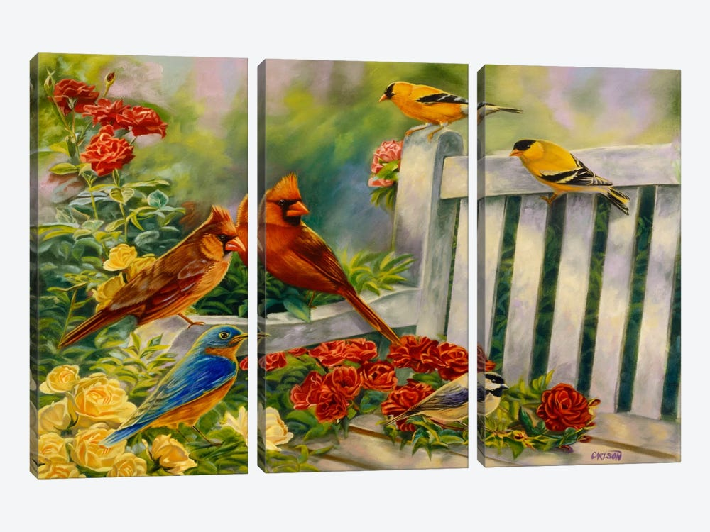 Where Friends Meet (Birds) by Cory Carlson 3-piece Canvas Artwork
