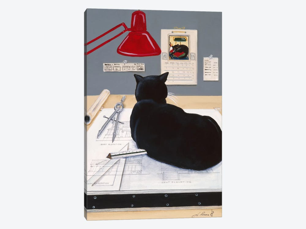 Harold The Architectural Paperweight by Jan Panico 1-piece Canvas Artwork
