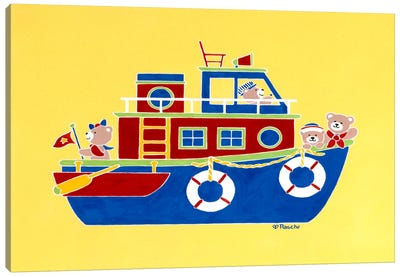 Boating Bears Canvas Art Print