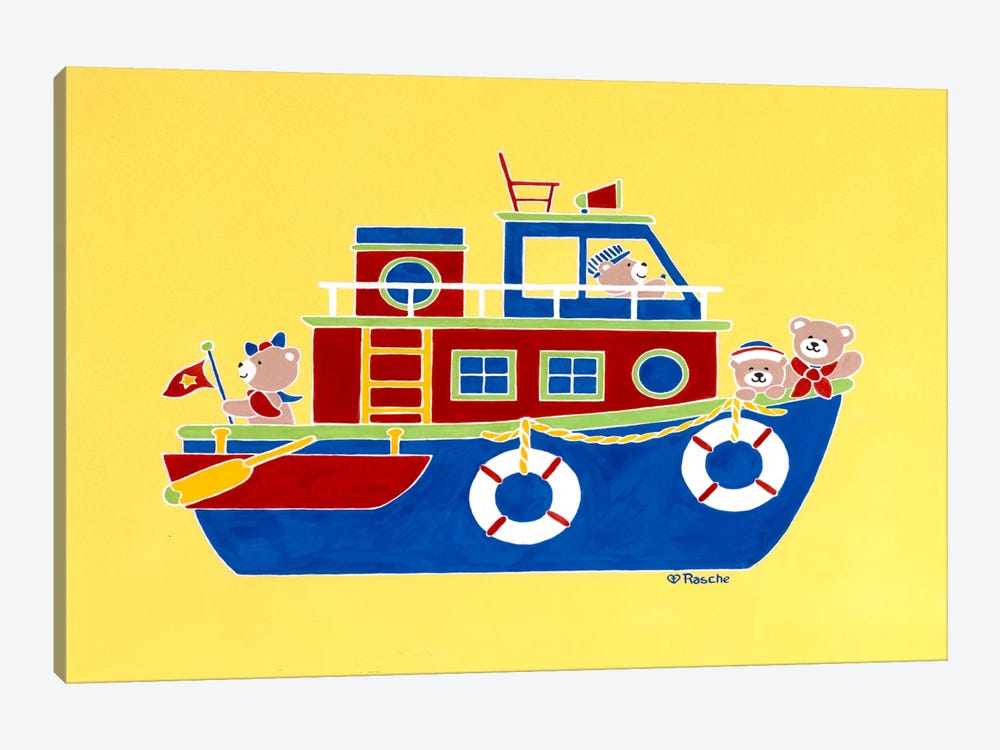 Boating Bears by Shelly Rasche 1-piece Canvas Art Print