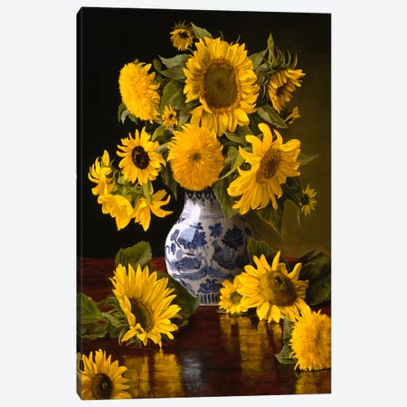 Sunflowers in Blue & White Chinese Vase Canvas Print #9275} by Christopher Pierce Canvas Print
