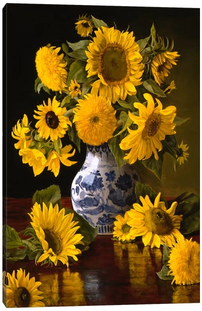 Sunflowers in Blue & White Chinese Vase Canvas Art Print