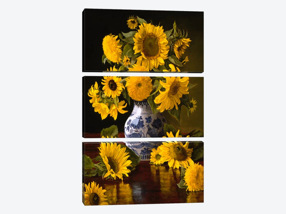 Sunflowers in Blue & White Chinese Vase 3-piece Canvas Wall Art