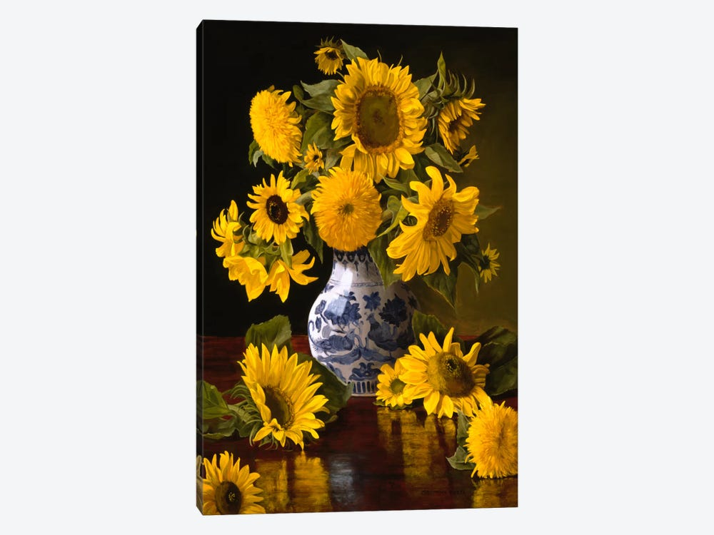 Sunflowers in Blue & White Chinese Vase by Christopher Pierce 1-piece Canvas Wall Art