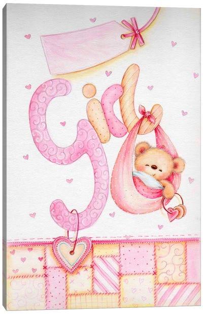 It's a Girl (Teddy Bear) Canvas Art Print