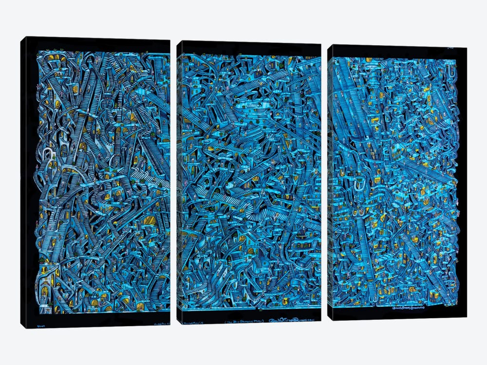 The Blue Staircase Maze by David Russo 3-piece Canvas Wall Art