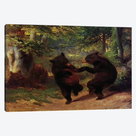 Dancing Bears 3-Piece Canvas #9354} by Unknown Artist Canvas Wall Art