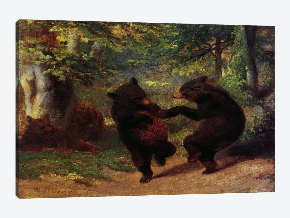 Dancing Bears by Unknown Artist 1-piece Canvas Wall Art