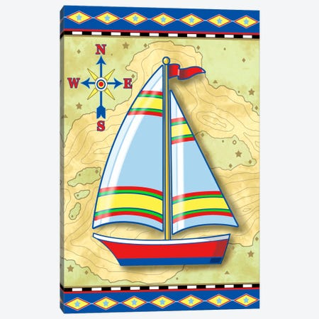Nautical V Canvas Print #9356} by Michele Meissner Canvas Artwork