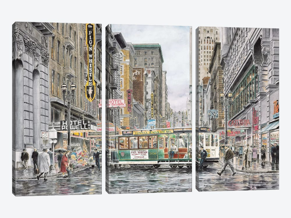 Eddy St., San Francisco by Stanton Manolakas 3-piece Canvas Print