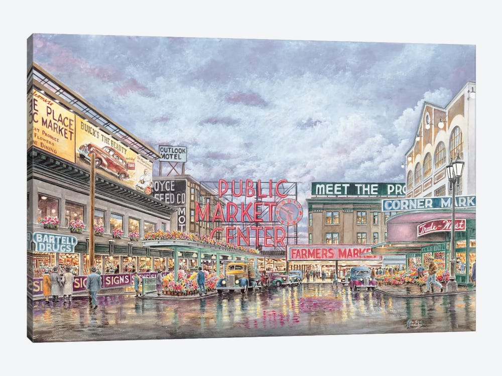 Pike Place Market Canvas Wall Art By Stanton Manolakas