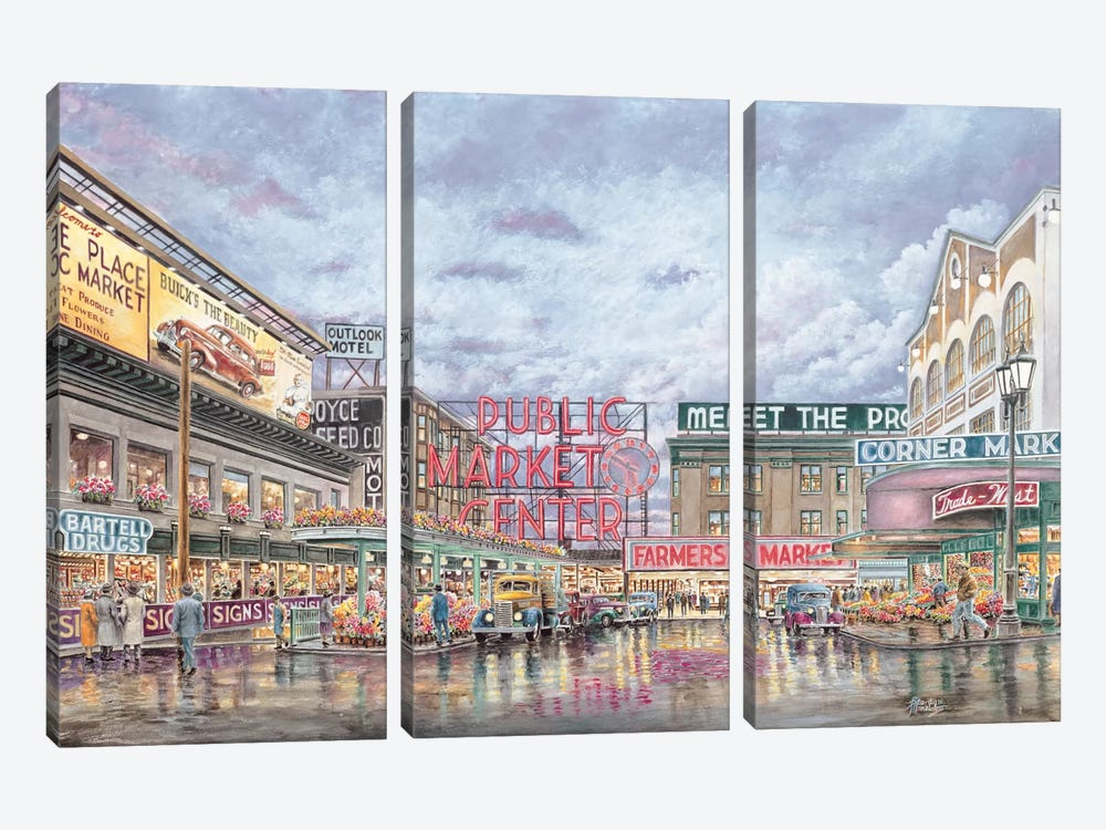 Pike Place Market by Stanton Manolakas 3-piece Canvas Art