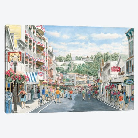 Main St., Mackinaw Canvas Print #9445} by Stanton Manolakas Canvas Wall Art