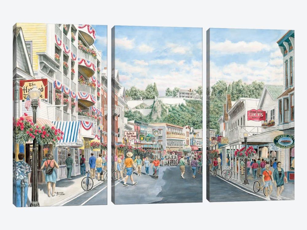 Main St., Mackinaw by Stanton Manolakas 3-piece Canvas Print