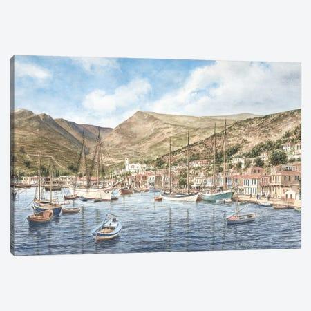 Greek Seaport Town Canvas Print #9455} by Stanton Manolakas Canvas Print