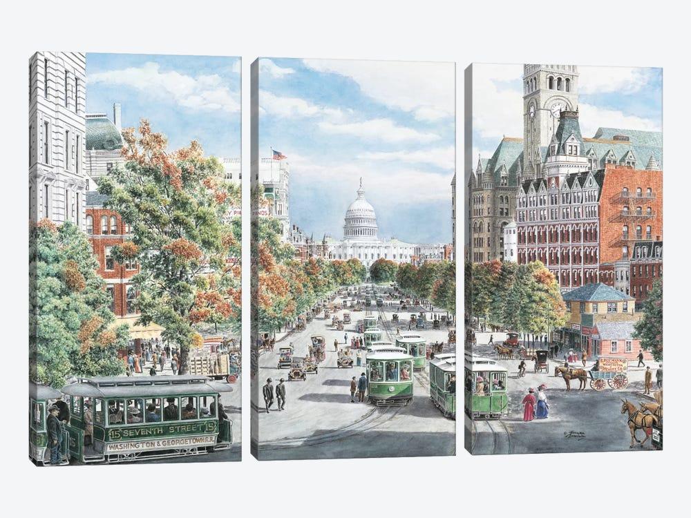 Washington DC Gridlock by Stanton Manolakas 3-piece Canvas Art Print