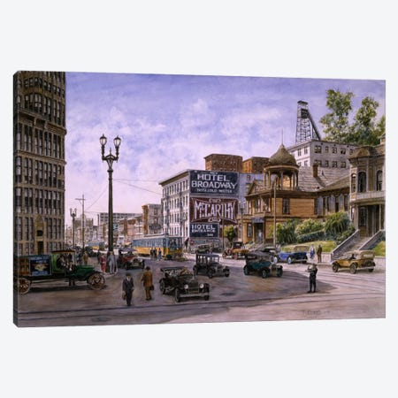 Temple & Broadway, Los Angeles Canvas Print #9467} by Stanton Manolakas Canvas Wall Art
