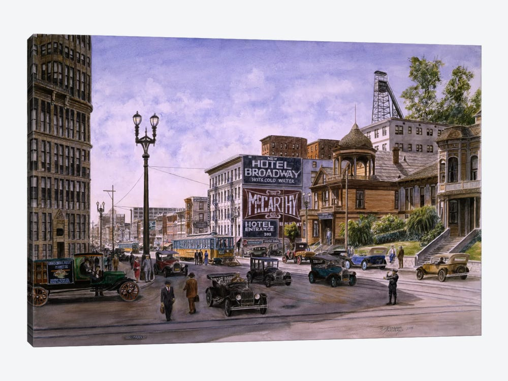 Temple & Broadway, Los Angeles by Stanton Manolakas 1-piece Canvas Print