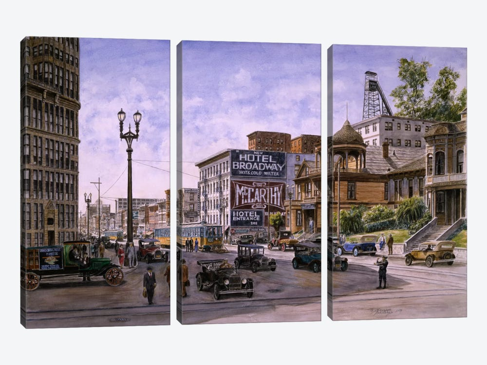 Temple & Broadway, Los Angeles by Stanton Manolakas 3-piece Art Print
