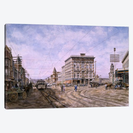 Looking South From Main & Spring, Los Angeles Canvas Print #9468} by Stanton Manolakas Art Print