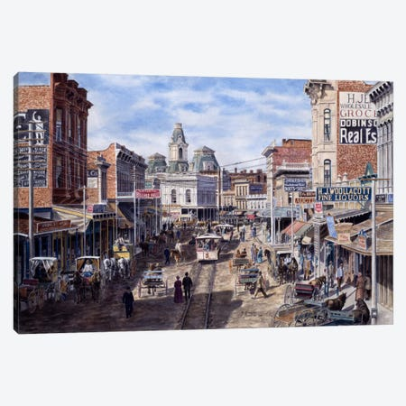 Rush Hour, Spring St. Looking North, Los Angeles Canvas Print #9470} by Stanton Manolakas Canvas Wall Art