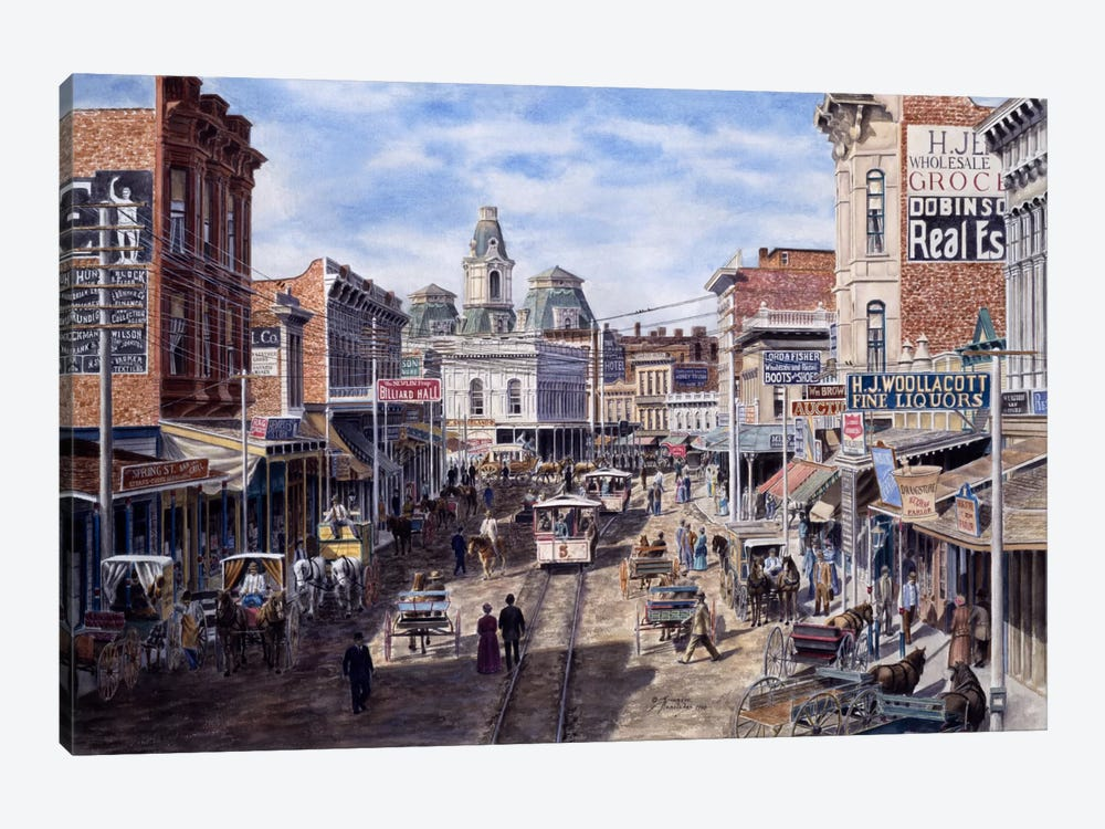 Rush Hour, Spring St. Looking North, Los Angeles by Stanton Manolakas 1-piece Canvas Art Print