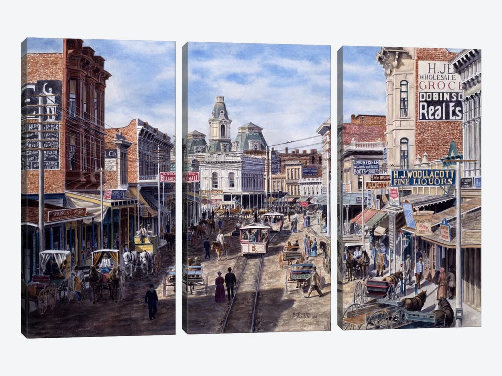 Rush Hour, Spring St. Looking North, Los Angeles by Stanton Manolakas 3-piece Canvas Art Print