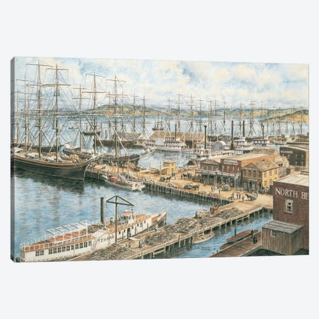 The Vallejo Street Wharf Canvas Print #9471} by Stanton Manolakas Canvas Art