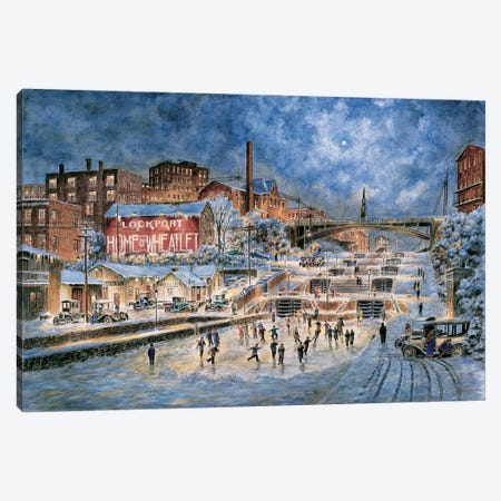 The Skating Party, Lockport, New York Canvas Print #9474} by Stanton Manolakas Art Print