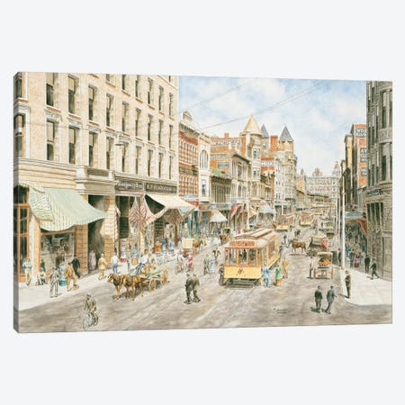 3rd & Spring, Los Angeles Canvas Print #9481} by Stanton Manolakas Canvas Art Print