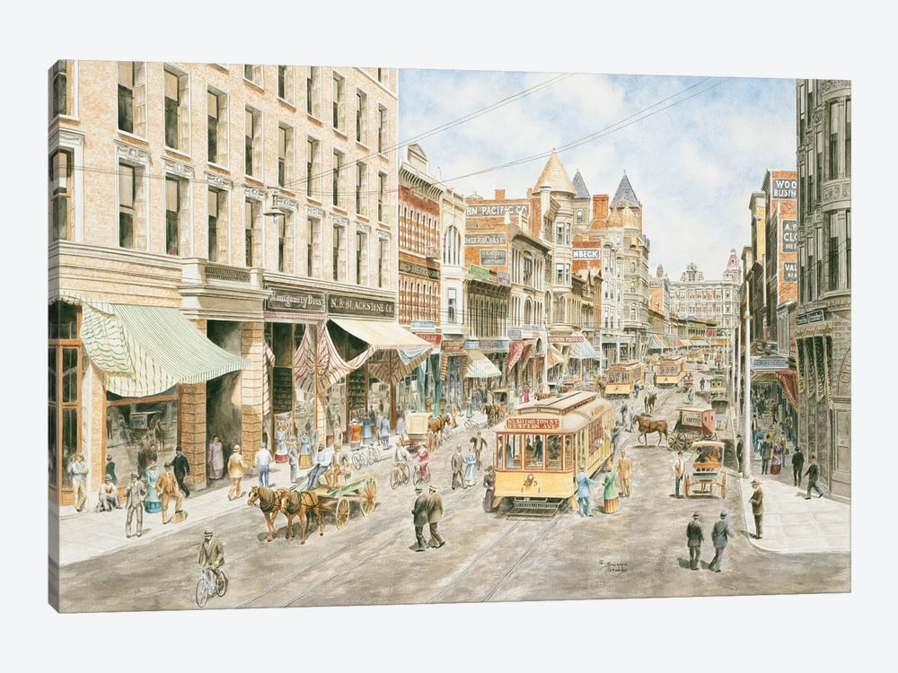 3rd & Spring, Los Angeles by Stanton Manolakas 1-piece Canvas Art Print