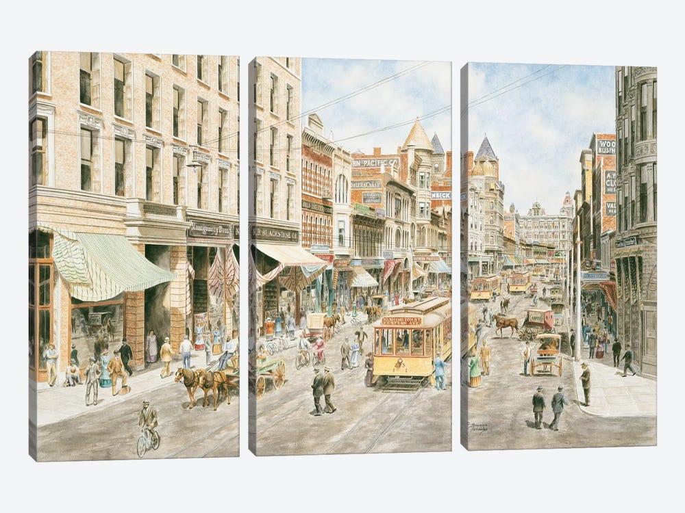 3rd & Spring, Los Angeles by Stanton Manolakas 3-piece Canvas Art Print