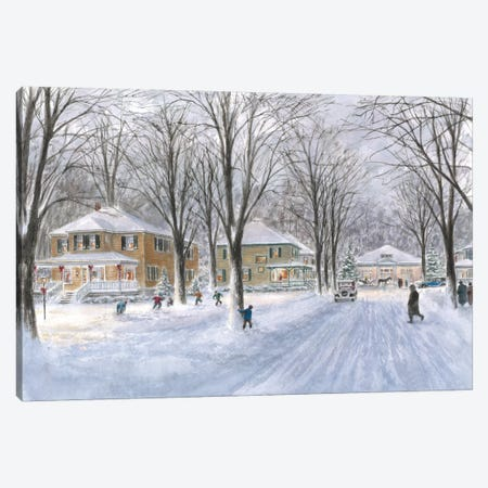 The Snowball Fight Canvas Print #9482} by Stanton Manolakas Canvas Print