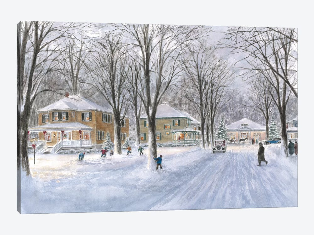 The Snowball Fight by Stanton Manolakas 1-piece Canvas Art