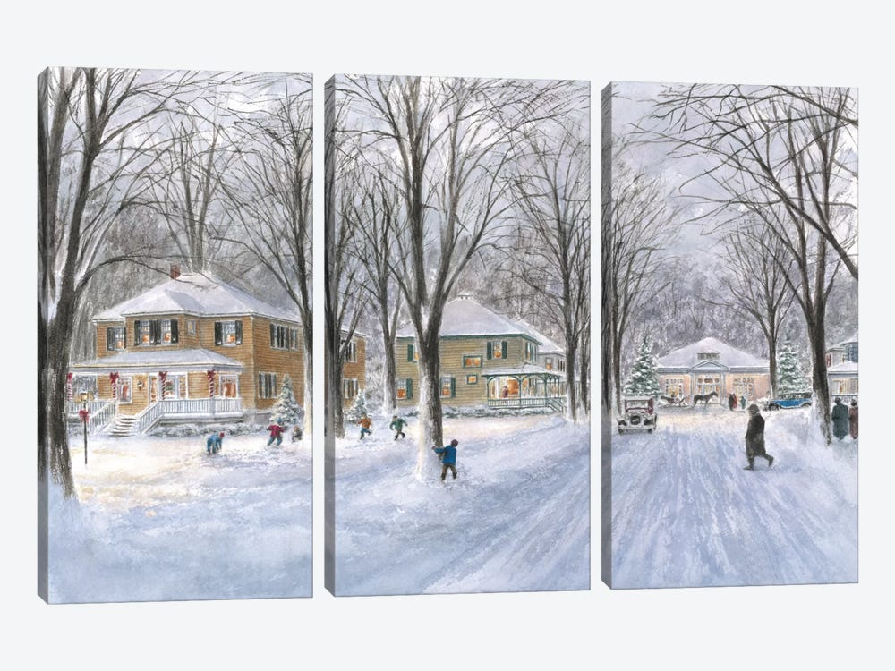 The Snowball Fight by Stanton Manolakas 3-piece Canvas Artwork