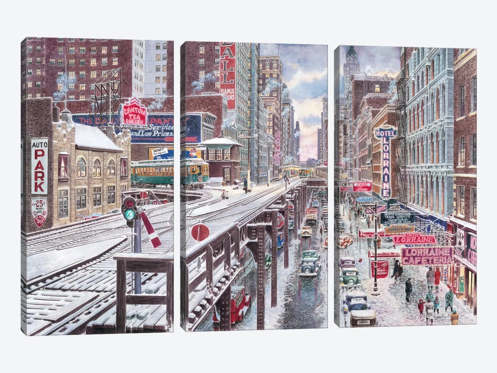 Chicago, The Loop by Stanton Manolakas 3-piece Canvas Art Print